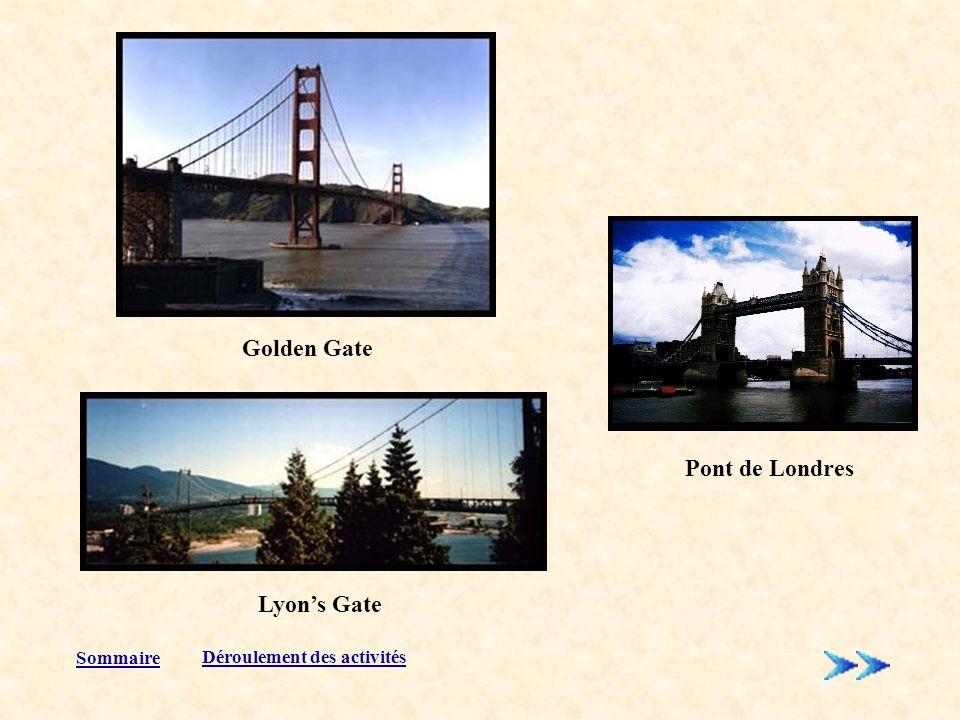 Sommaire Pont de Londres Lyons Gate Golden Gate Déroulement des activités