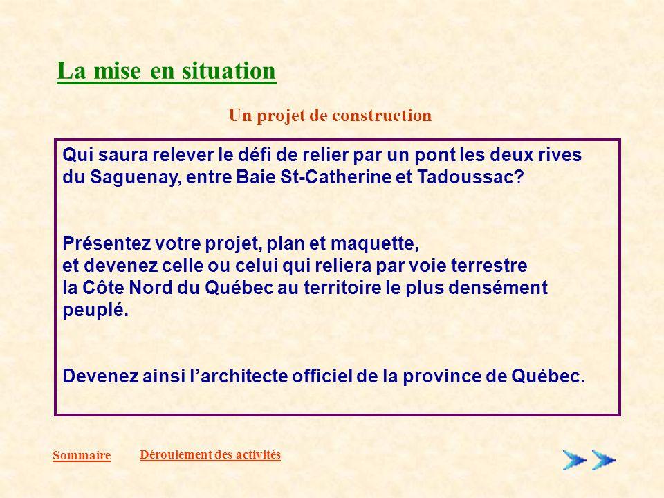 La mise en situation Sommaire Qui saura relever le défi de relier par un pont les deux rives du Saguenay, entre Baie St-Catherine et Tadoussac.