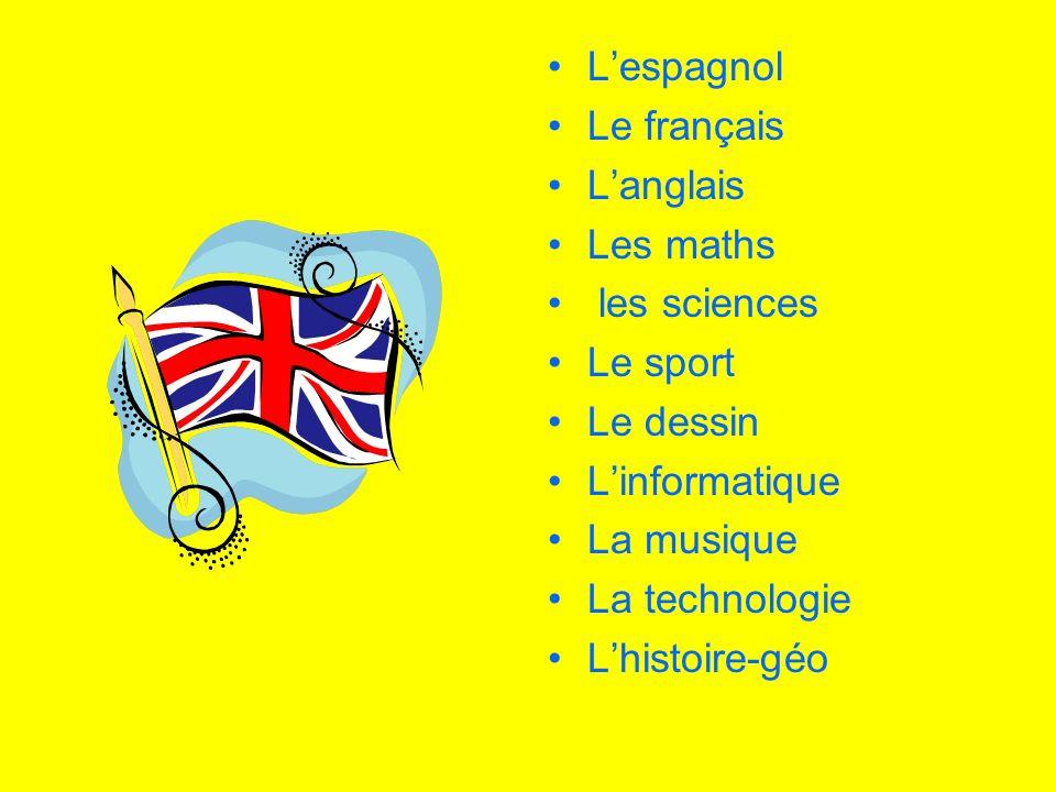 Lespagnol Le français Langlais Les maths les sciences Le sport Le dessin Linformatique La musique La technologie Lhistoire-géo