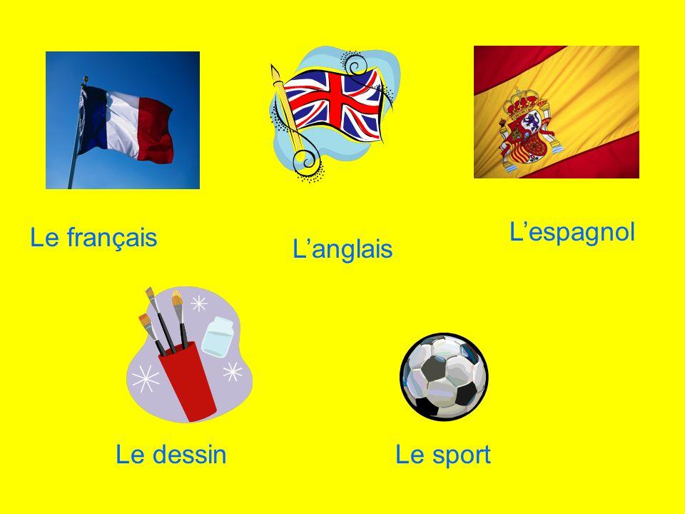Le français Lespagnol Langlais Le dessinLe sport