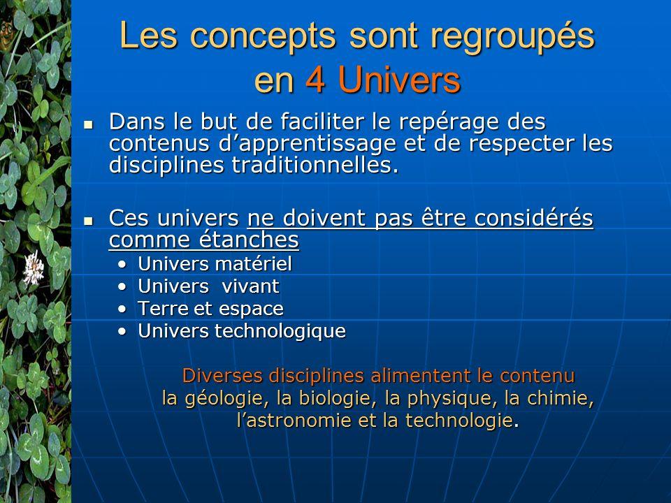 Les concepts sont regroupés en 4 Univers Dans le but de faciliter le repérage des contenus dapprentissage et de respecter les disciplines traditionnelles.