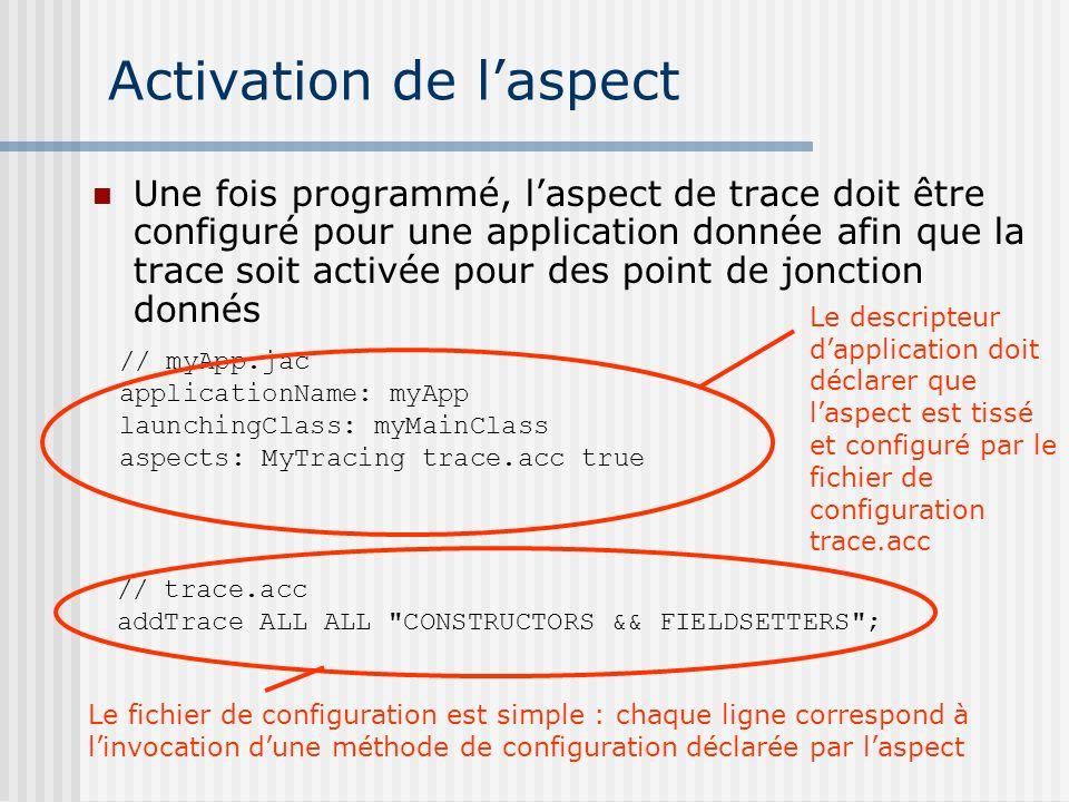 Activation de laspect Une fois programmé, laspect de trace doit être configuré pour une application donnée afin que la trace soit activée pour des poi