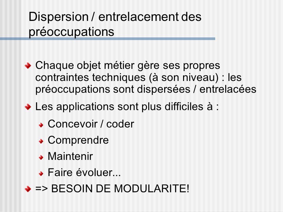 Dispersion / entrelacement des préoccupations Chaque objet métier gère ses propres contraintes techniques (à son niveau) : les préoccupations sont dis