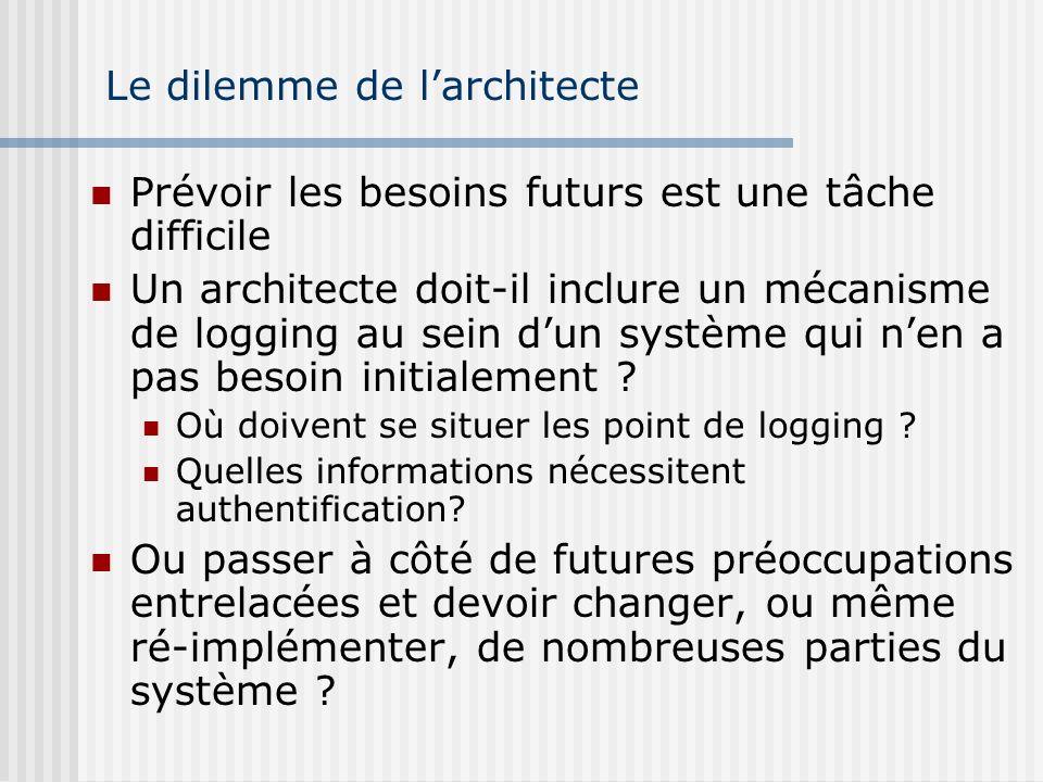 Le dilemme de larchitecte Prévoir les besoins futurs est une tâche difficile Un architecte doit-il inclure un mécanisme de logging au sein dun système