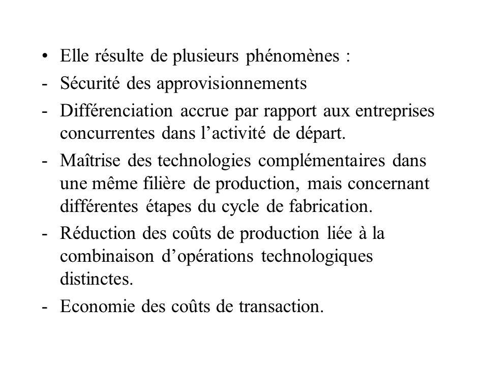 Elle résulte de plusieurs phénomènes : -Sécurité des approvisionnements -Différenciation accrue par rapport aux entreprises concurrentes dans lactivit