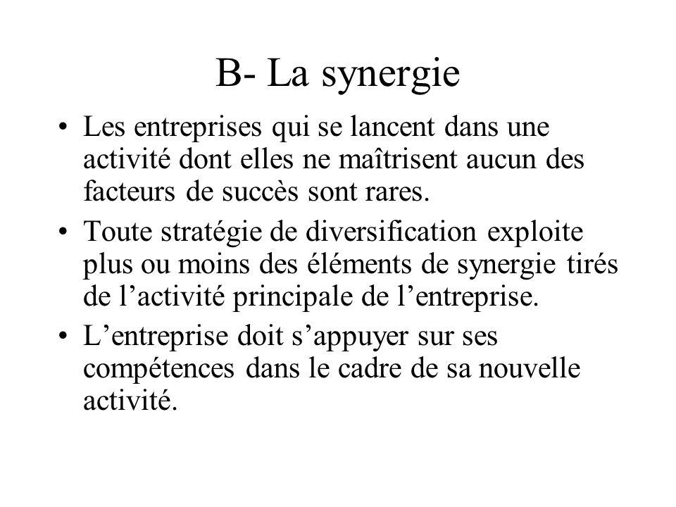 B- La synergie Les entreprises qui se lancent dans une activité dont elles ne maîtrisent aucun des facteurs de succès sont rares. Toute stratégie de d