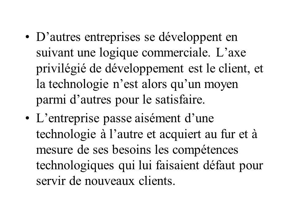 Dautres entreprises se développent en suivant une logique commerciale. Laxe privilégié de développement est le client, et la technologie nest alors qu