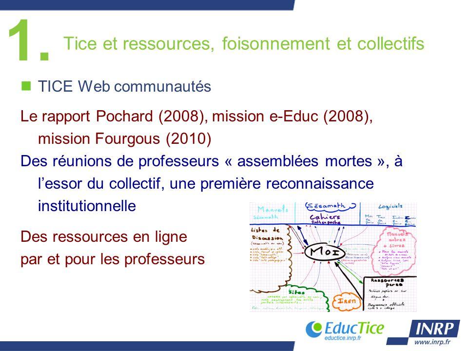 Tice et ressources, foisonnement et collectifs nTICE Web communautés Le rapport Pochard (2008), mission e-Educ (2008), mission Fourgous (2010) Des réu