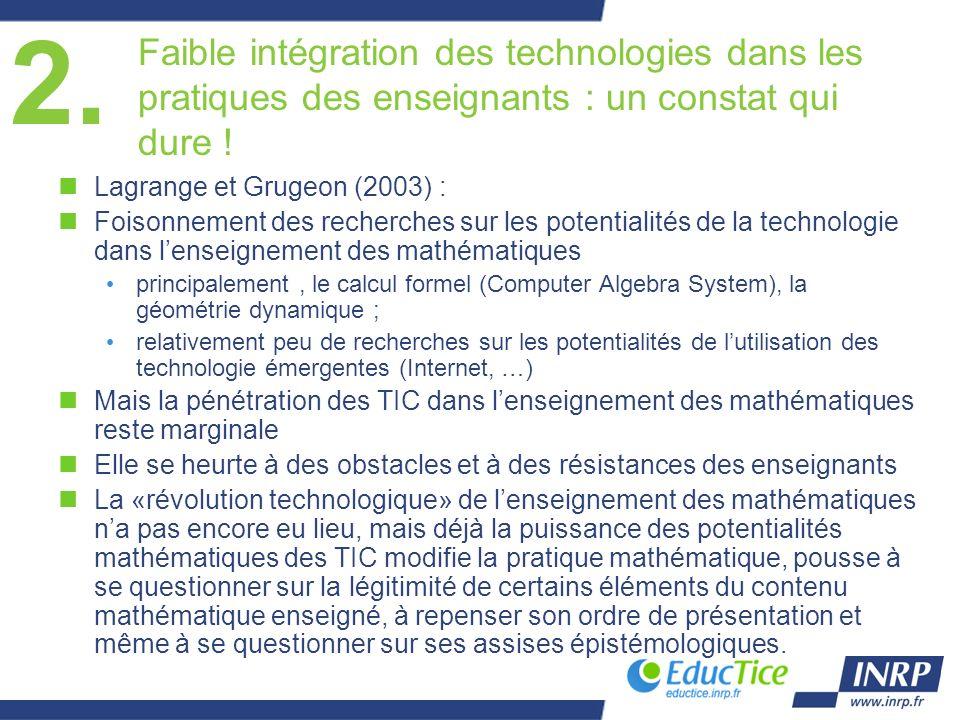 Faible intégration des technologies dans les pratiques des enseignants : un constat qui dure ! nLagrange et Grugeon (2003) : nFoisonnement des recherc