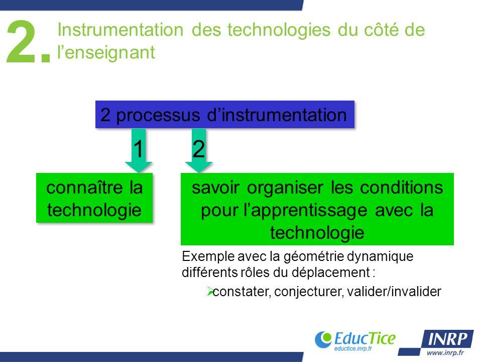 Instrumentation des technologies du côté de lenseignant connaître la technologie savoir organiser les conditions pour lapprentissage avec la technolog