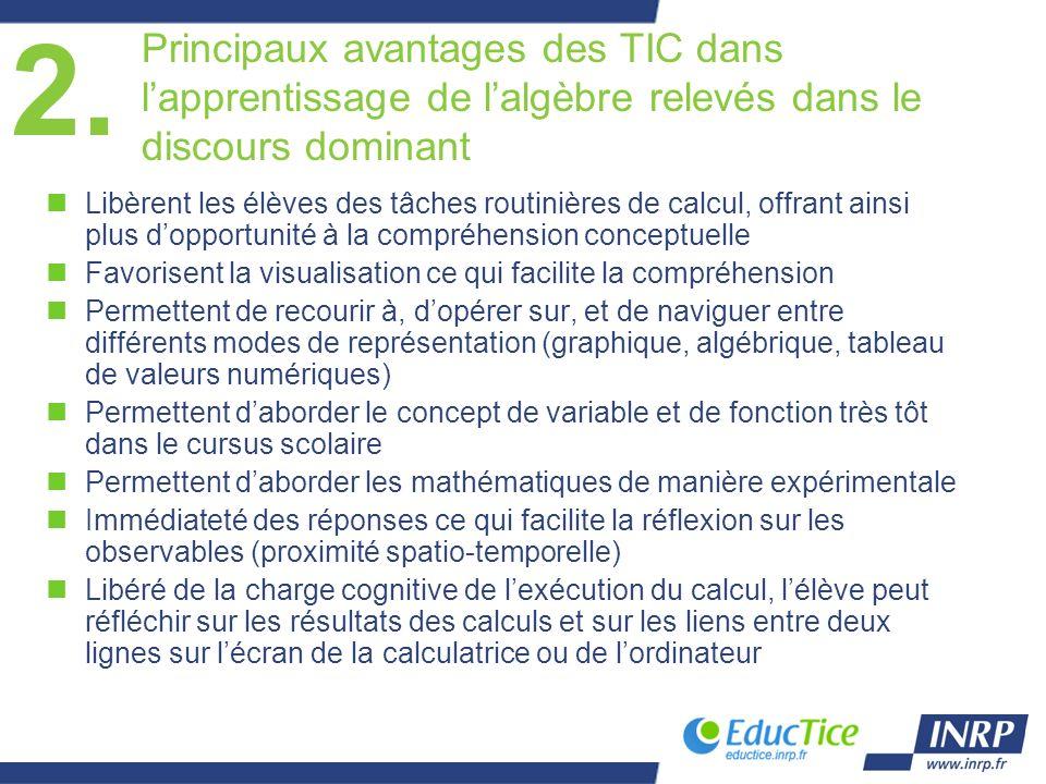 Principaux avantages des TIC dans lapprentissage de lalgèbre relevés dans le discours dominant nLibèrent les élèves des tâches routinières de calcul,