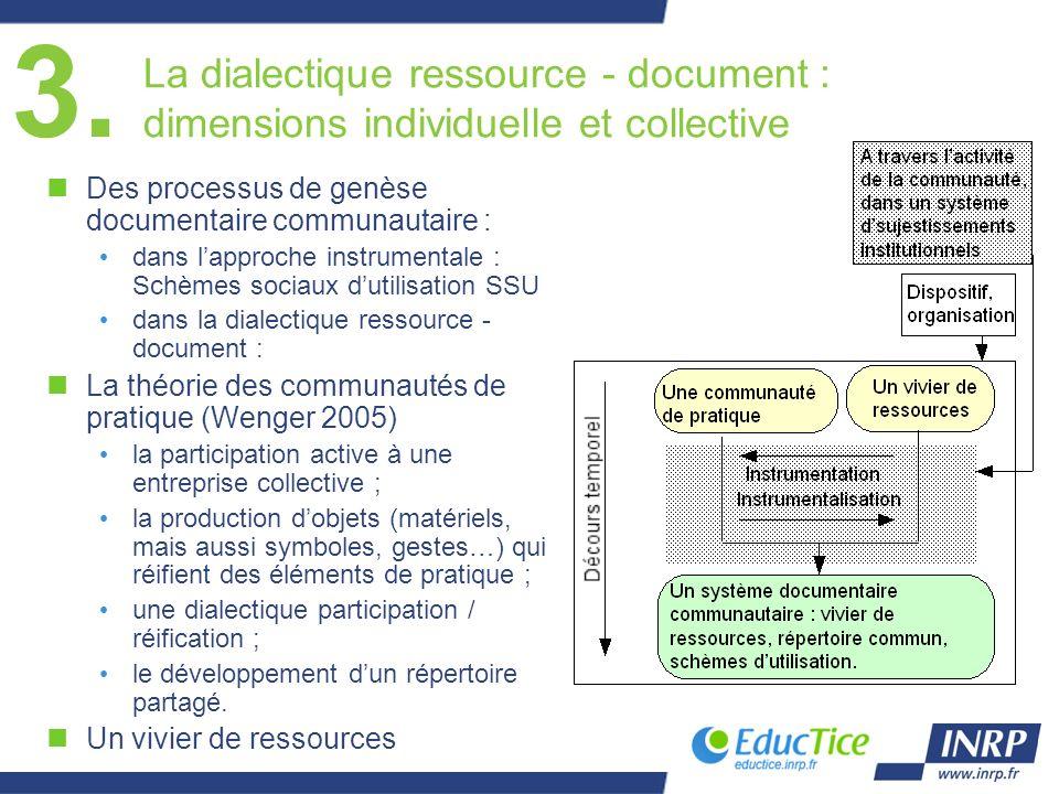 3. La dialectique ressource - document : dimensions individuelle et collective nDes processus de genèse documentaire communautaire : dans lapproche in