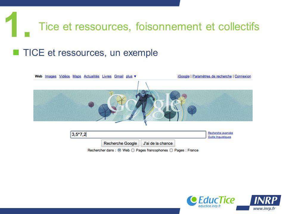 Tice et ressources, foisonnement et collectifs nTICE et ressources, un exemple 1.