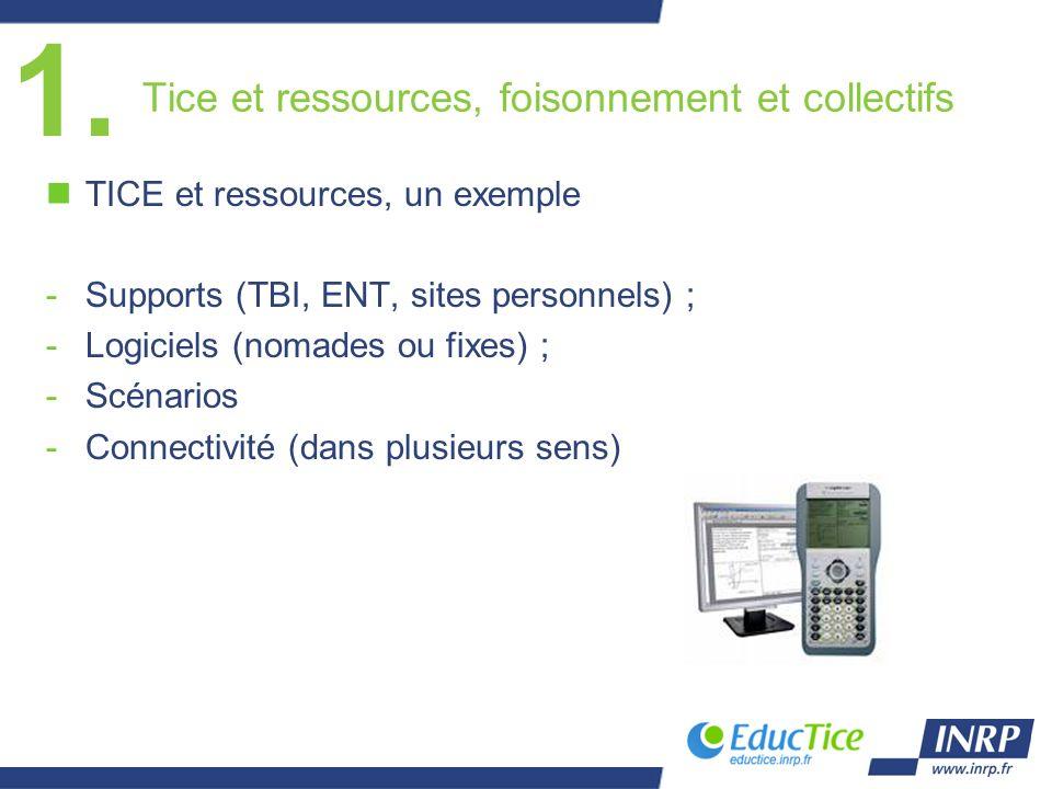 Tice et ressources, foisonnement et collectifs nTICE et ressources, un exemple -Supports (TBI, ENT, sites personnels) ; -Logiciels (nomades ou fixes) ; -Scénarios -Connectivité (dans plusieurs sens) 1.
