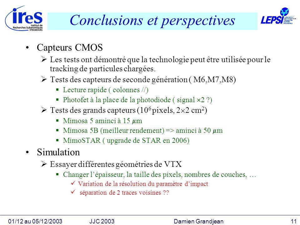 01/12 au 05/12/2003JJC 2003 Damien Grandjean11 Conclusions et perspectives Capteurs CMOS Les tests ont démontré que la technologie peut être utilisée