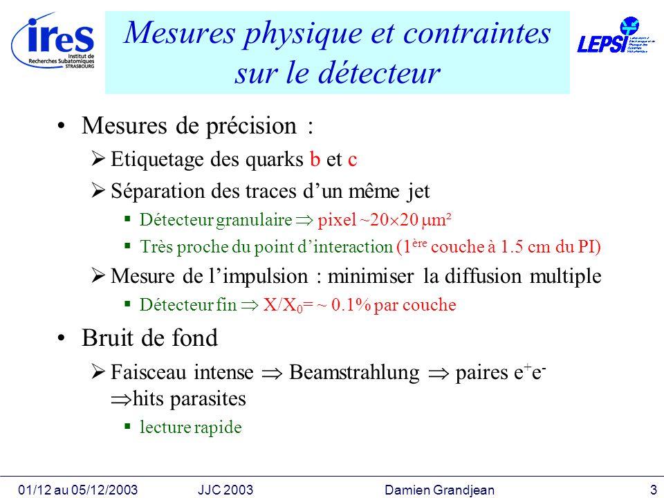 01/12 au 05/12/2003JJC 2003 Damien Grandjean3 Mesures physique et contraintes sur le détecteur Mesures de précision : Etiquetage des quarks b et c Sép