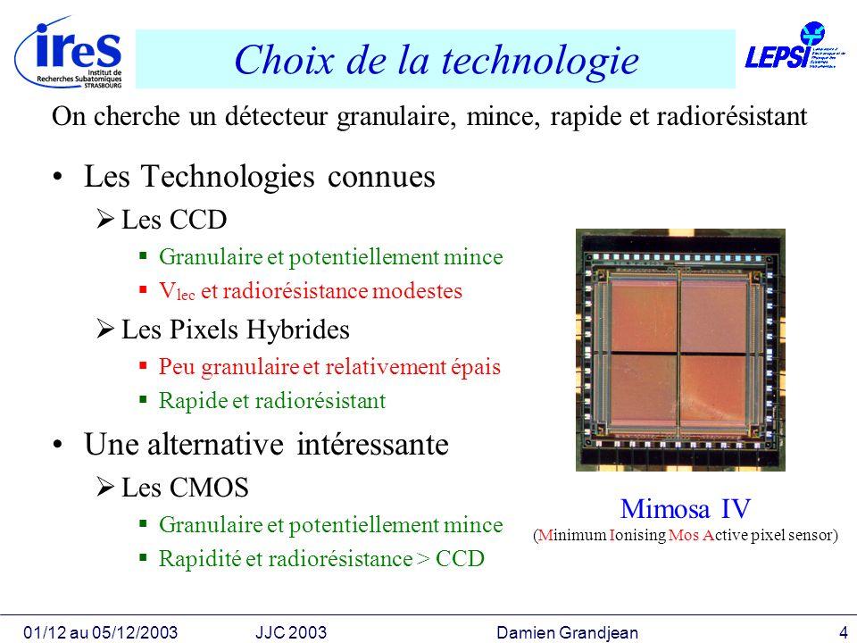 01/12 au 05/12/2003JJC 2003 Damien Grandjean4 Choix de la technologie Les Technologies connues Les CCD Granulaire et potentiellement mince V lec et ra