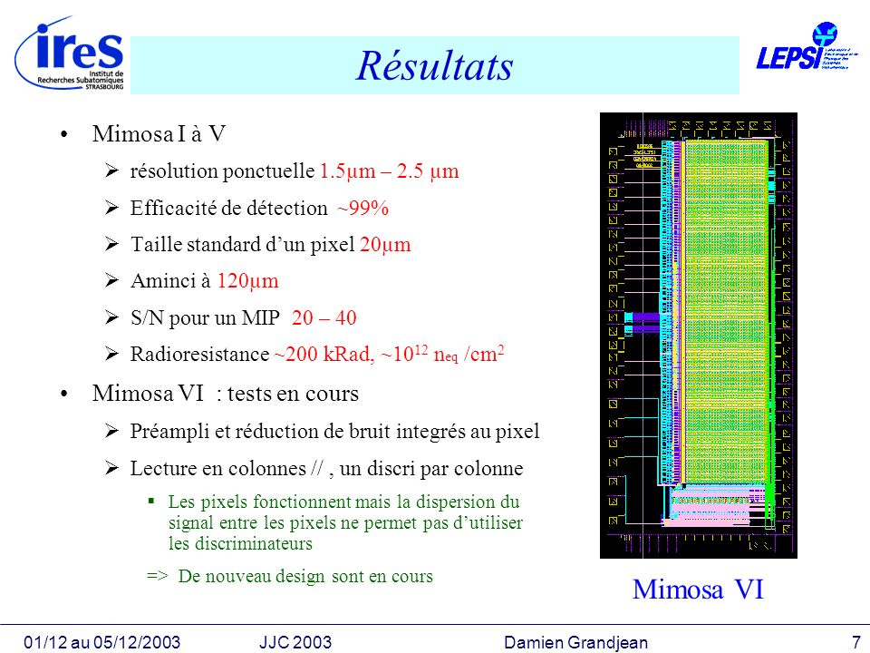 01/12 au 05/12/2003JJC 2003 Damien Grandjean7 Résultats Mimosa I à V résolution ponctuelle 1.5µm – 2.5 µm Efficacité de détection ~99% Taille standard