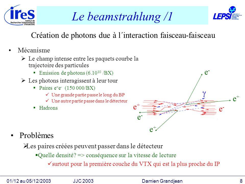 01/12 au 05/12/2003JJC 2003 Damien Grandjean9 Le beamstralhung /2 Simulation du beamstrahlung Logiciel Guinea-pig Génération des photons Puis des paires e + e - Simulation du VTX Logiciel Brahms sous GEANT3 Simulation complète du détecteur Propagation des paires e + e - Visualisation des hits Résultats 0.4 hits/mm 2 /BX en moyenne sur la couche 1 vitesse de lecture actuelle Accumulation de ~100 BX- Densité de hits parasites acceptables Ici seule la simulation peut nous donner un début de réponse