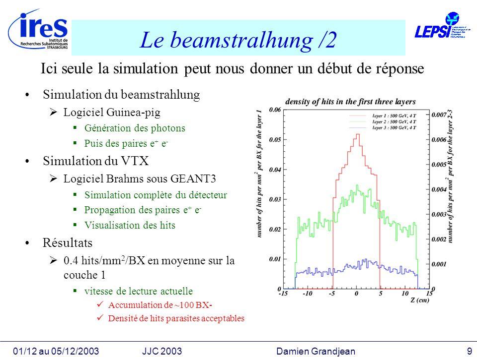 01/12 au 05/12/2003JJC 2003 Damien Grandjean10 Simulation du VTX avec Brahms Version du VTX précédente 5 couches sous forme de cylindres concentriques Version réaliste : 5 couches composées déchelles de 1.5 à 6 cm du PI Longueur 10 à 25 cm Electronique sur le bord de léchelle Brahms est le simulateur complet du détecteur sous GEANT3 Résolution sur le PI r = 4.1 8.6 p/sin 3/2 SLD : r = 9 33 p/sin 3/2