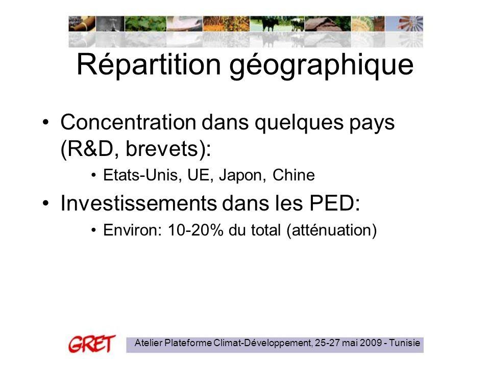 Atelier Plateforme Climat-Développement, 25-27 mai 2009 - Tunisie Répartition géographique Concentration dans quelques pays (R&D, brevets): Etats-Unis, UE, Japon, Chine Investissements dans les PED: Environ: 10-20% du total (atténuation)
