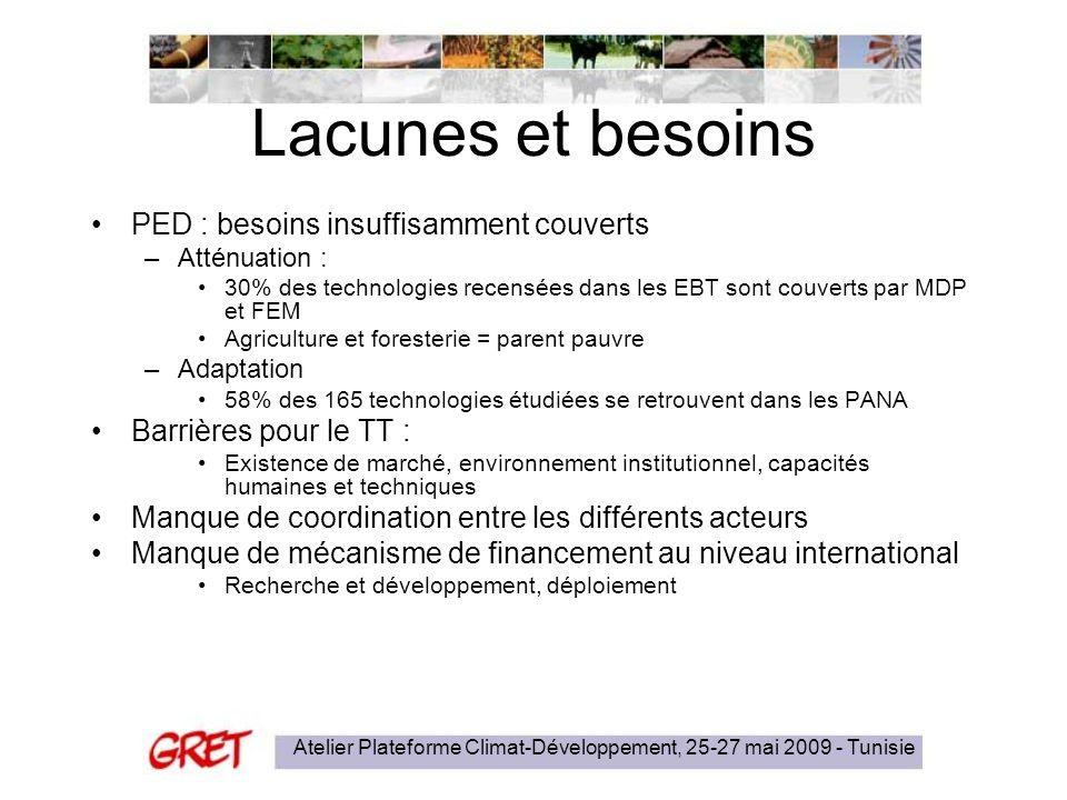 Atelier Plateforme Climat-Développement, 25-27 mai 2009 - Tunisie Lacunes et besoins PED : besoins insuffisamment couverts –Atténuation : 30% des tech