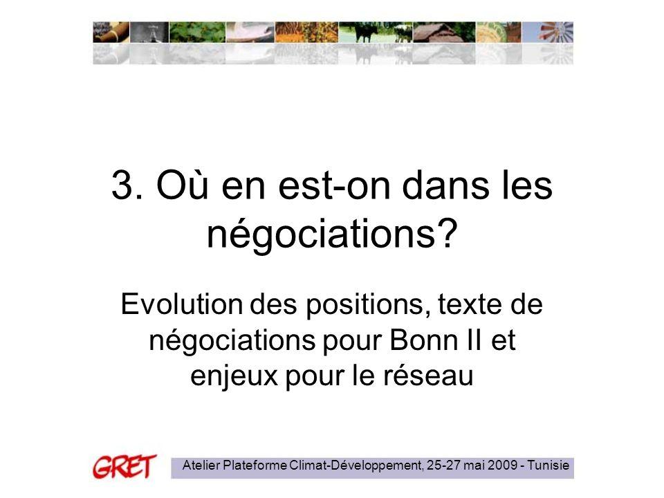 Atelier Plateforme Climat-Développement, 25-27 mai 2009 - Tunisie 3. Où en est-on dans les négociations? Evolution des positions, texte de négociation