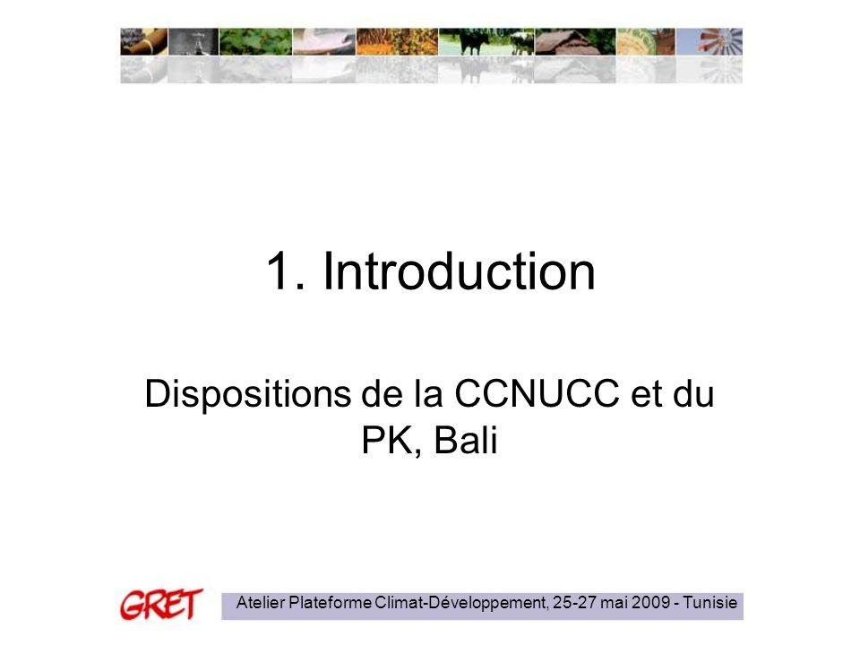 Atelier Plateforme Climat-Développement, 25-27 mai 2009 - Tunisie 1. Introduction Dispositions de la CCNUCC et du PK, Bali