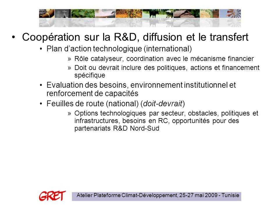 Atelier Plateforme Climat-Développement, 25-27 mai 2009 - Tunisie Coopération sur la R&D, diffusion et le transfert Plan daction technologique (intern
