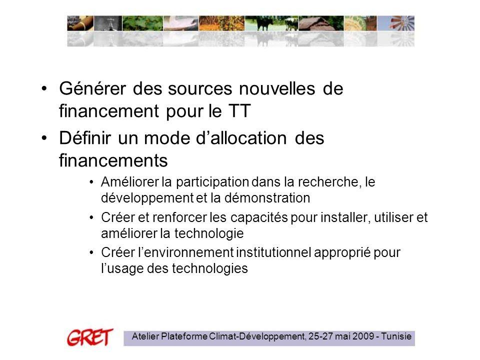 Atelier Plateforme Climat-Développement, 25-27 mai 2009 - Tunisie Générer des sources nouvelles de financement pour le TT Définir un mode dallocation