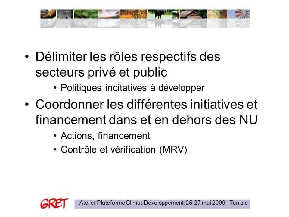 Atelier Plateforme Climat-Développement, 25-27 mai 2009 - Tunisie Délimiter les rôles respectifs des secteurs privé et public Politiques incitatives à développer Coordonner les différentes initiatives et financement dans et en dehors des NU Actions, financement Contrôle et vérification (MRV)