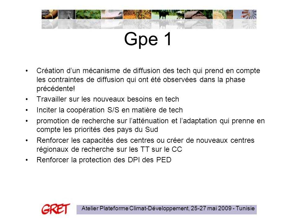 Gpe 1 Création dun mécanisme de diffusion des tech qui prend en compte les contraintes de diffusion qui ont été observées dans la phase précédente.