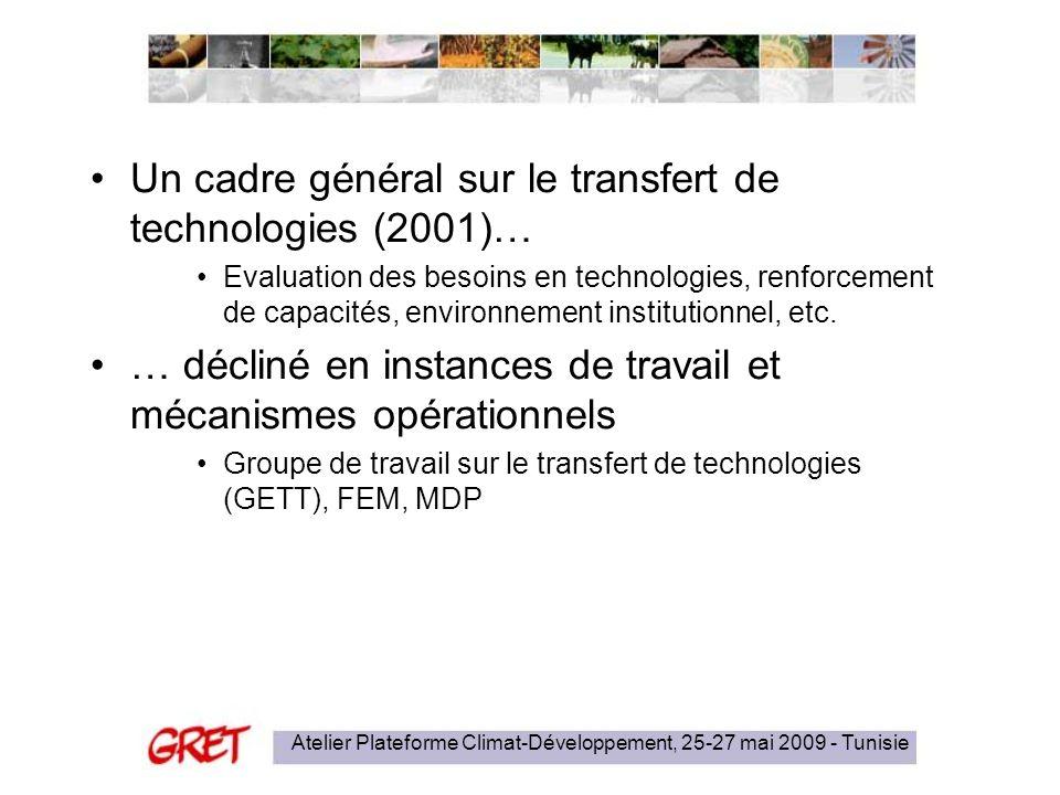 Atelier Plateforme Climat-Développement, 25-27 mai 2009 - Tunisie Un cadre général sur le transfert de technologies (2001)… Evaluation des besoins en technologies, renforcement de capacités, environnement institutionnel, etc.