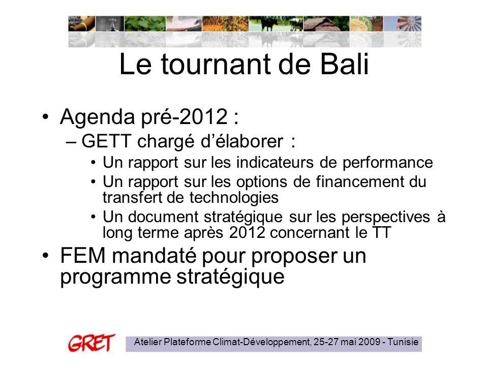 Atelier Plateforme Climat-Développement, 25-27 mai 2009 - Tunisie Le tournant de Bali Agenda pré-2012 : –GETT chargé délaborer : Un rapport sur les in