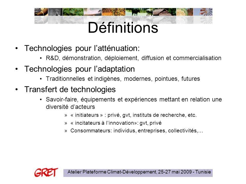 Atelier Plateforme Climat-Développement, 25-27 mai 2009 - Tunisie Définitions Technologies pour latténuation: R&D, démonstration, déploiement, diffusi