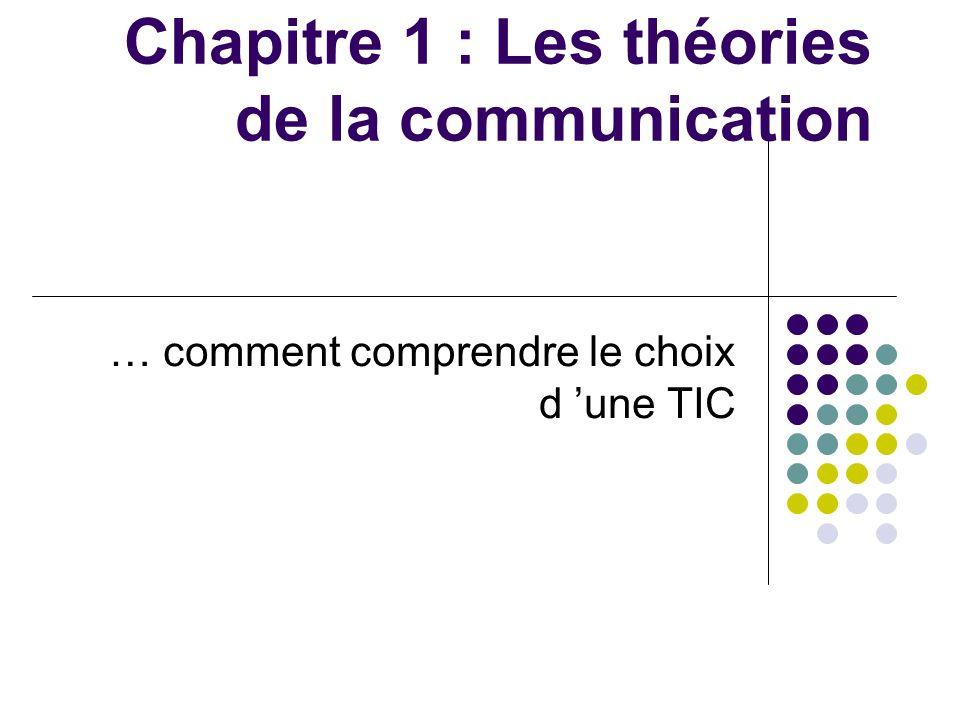 Chapitre 1 : Les théories de la communication … comment comprendre le choix d une TIC