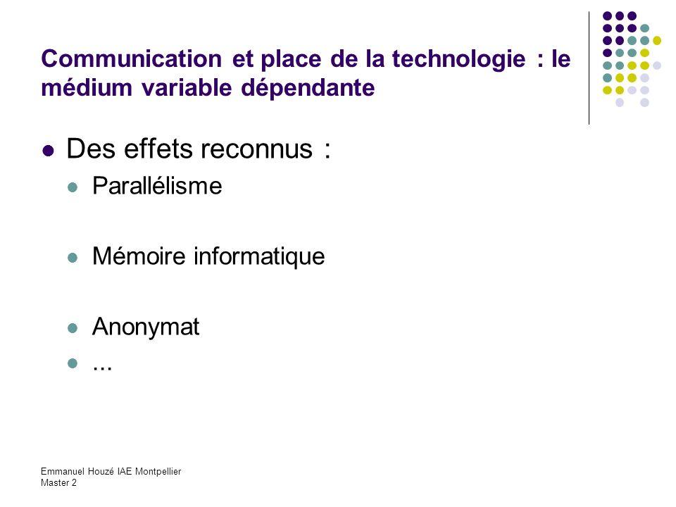 Emmanuel Houzé IAE Montpellier Master 2 Communication et place de la technologie : le médium variable dépendante Des effets reconnus : Parallélisme Mé