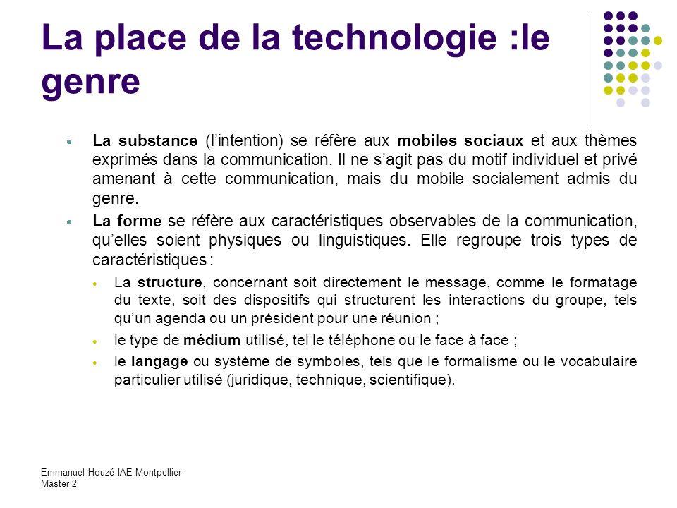 Emmanuel Houzé IAE Montpellier Master 2 La place de la technologie :le genre La substance (lintention) se réfère aux mobiles sociaux et aux thèmes exp