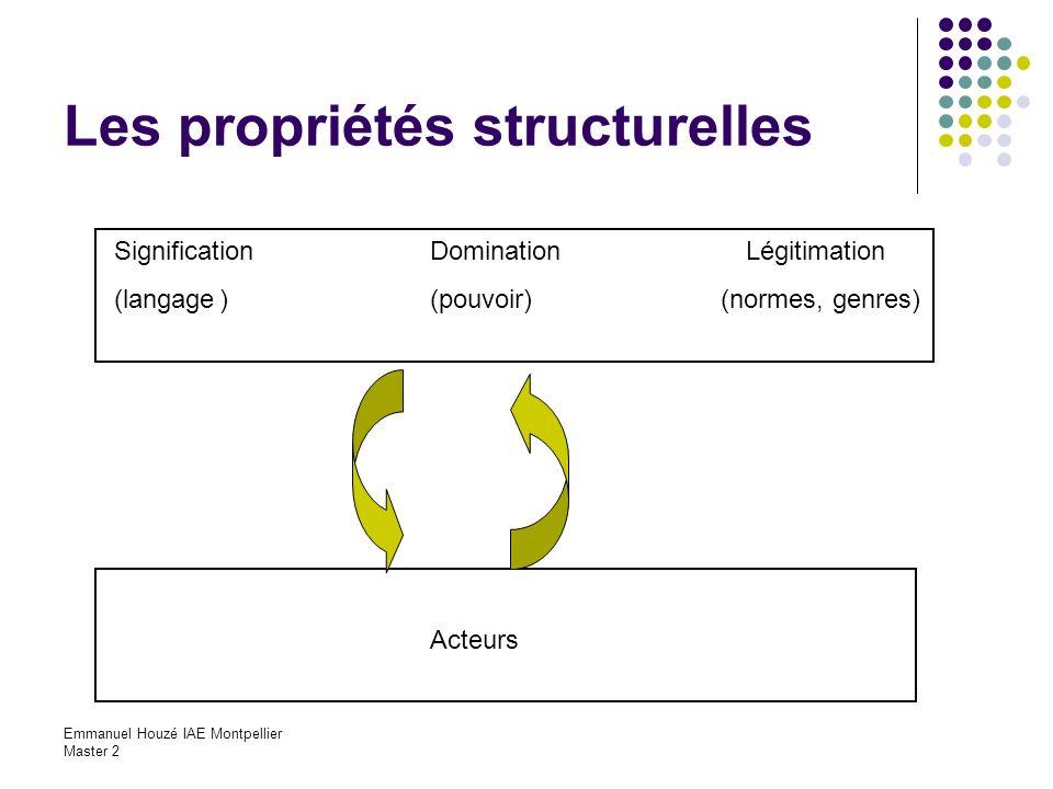 Emmanuel Houzé IAE Montpellier Master 2 Les propriétés structurelles SignificationDominationLégitimation (langage)(pouvoir) (normes, genres) Acteurs