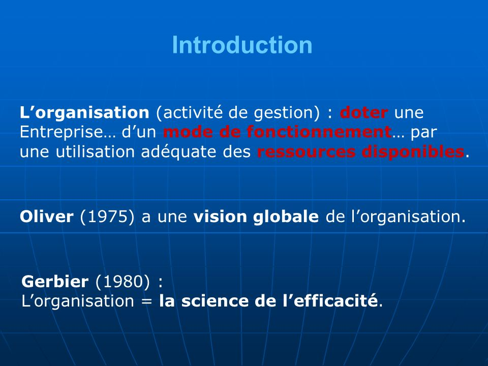 Introduction Lorganisation (activité de gestion) : doter une Entreprise… dun mode de fonctionnement… par une utilisation adéquate des ressources disponibles.