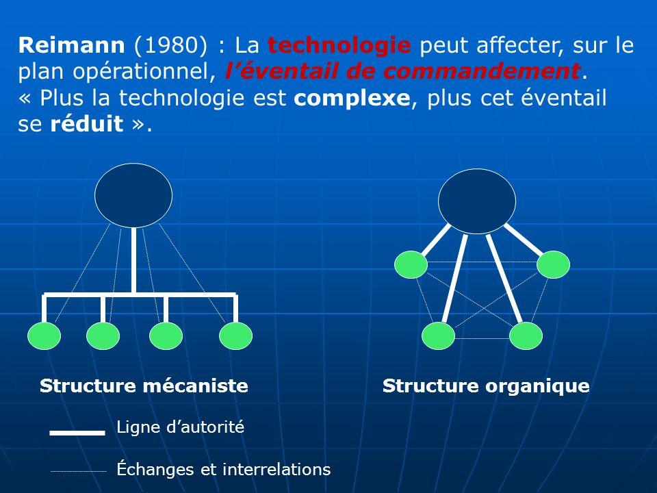 Reimann (1980) : La technologie peut affecter, sur le plan opérationnel, léventail de commandement.