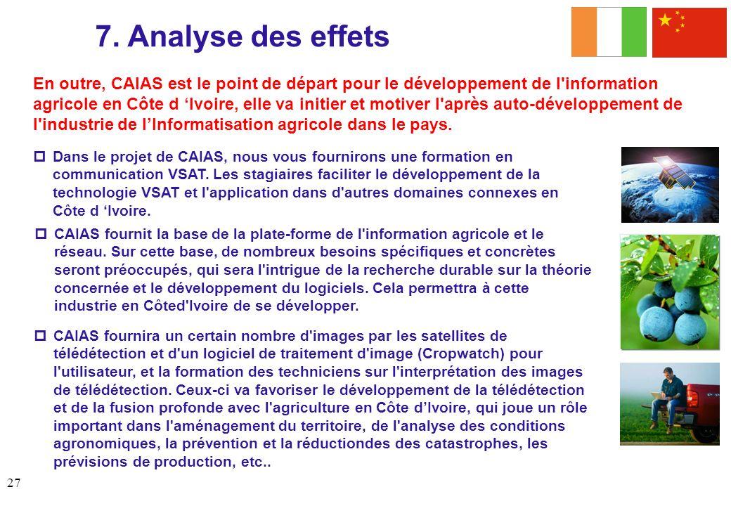 7. Analyse des effets Analysis (contd) Dans le projet de CAIAS, nous vous fournirons une formation en communication VSAT. Les stagiaires faciliter le