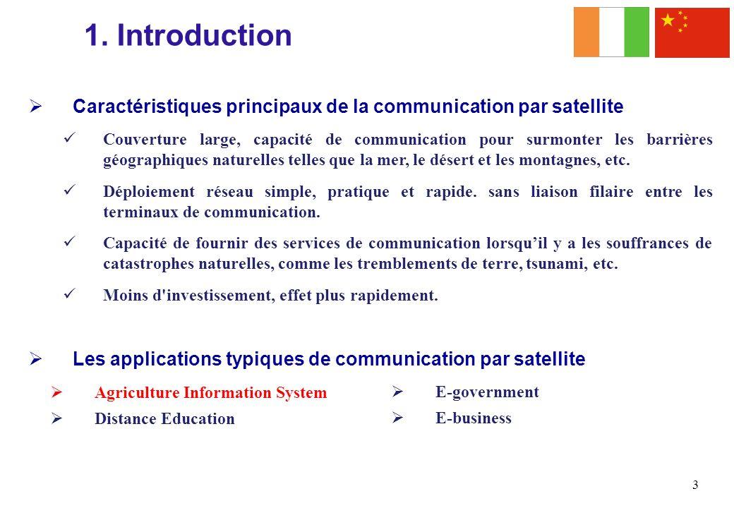 Caractéristiques principaux de la communication par satellite Couverture large, capacité de communication pour surmonter les barrières géographiques n