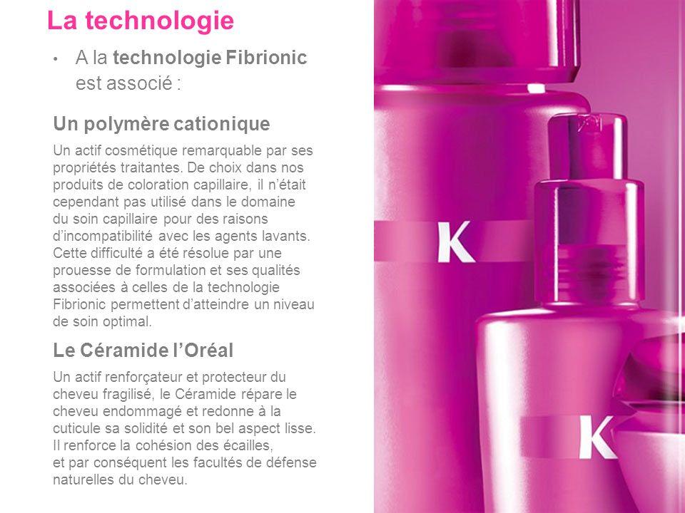 A la technologie Fibrionic est associé : La technologie Un polymère cationique Un actif cosmétique remarquable par ses propriétés traitantes. De choix