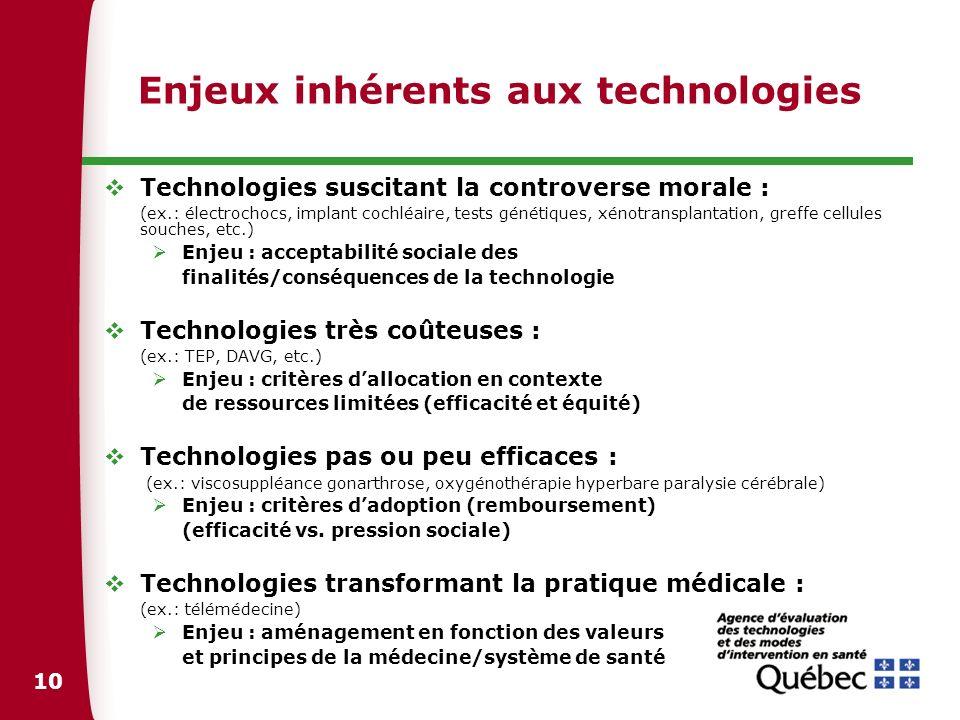 10 Enjeux inhérents aux technologies Technologies suscitant la controverse morale : (ex.: électrochocs, implant cochléaire, tests génétiques, xénotran