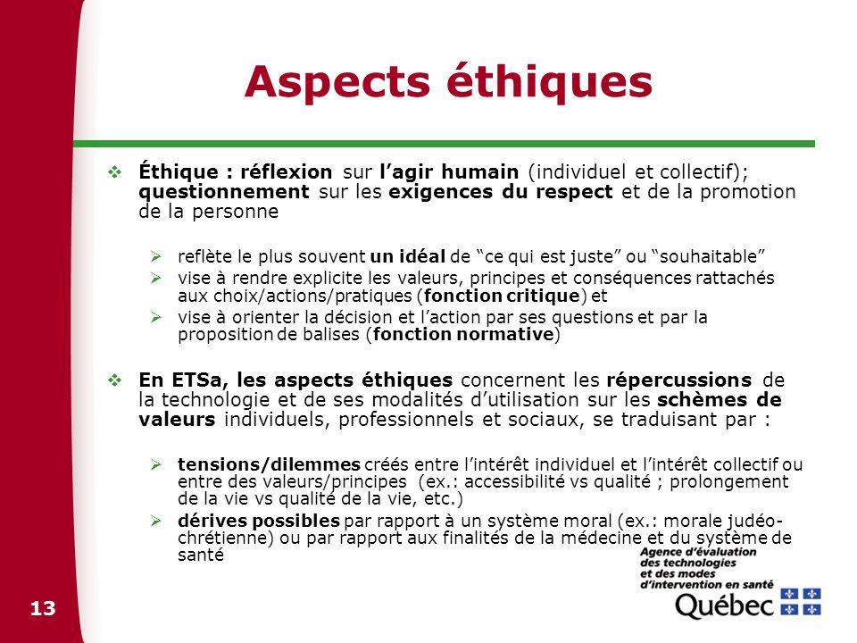 13 Aspects éthiques Éthique : réflexion sur lagir humain (individuel et collectif); questionnement sur les exigences du respect et de la promotion de