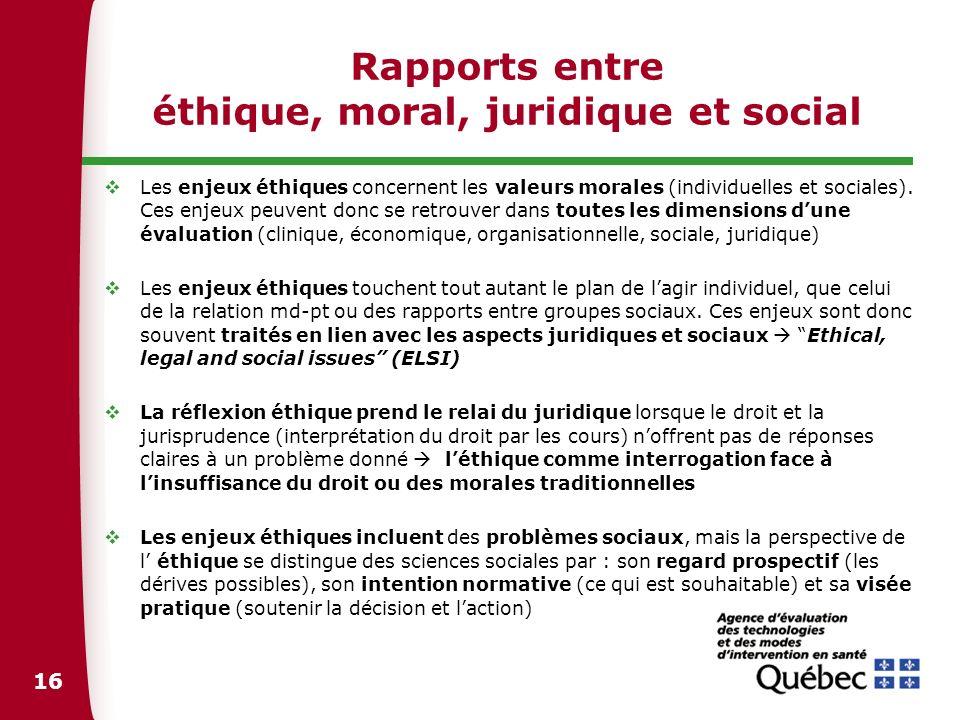 16 Rapports entre éthique, moral, juridique et social Les enjeux éthiques concernent les valeurs morales (individuelles et sociales). Ces enjeux peuve