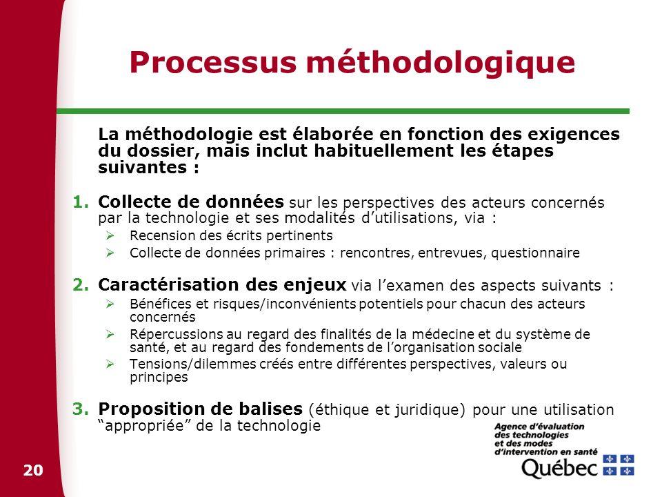 20 Processus méthodologique La méthodologie est élaborée en fonction des exigences du dossier, mais inclut habituellement les étapes suivantes : 1.Col