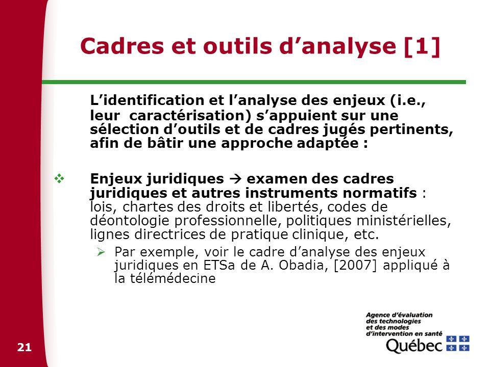 21 Cadres et outils danalyse [1] Lidentification et lanalyse des enjeux (i.e., leur caractérisation) sappuient sur une sélection doutils et de cadres