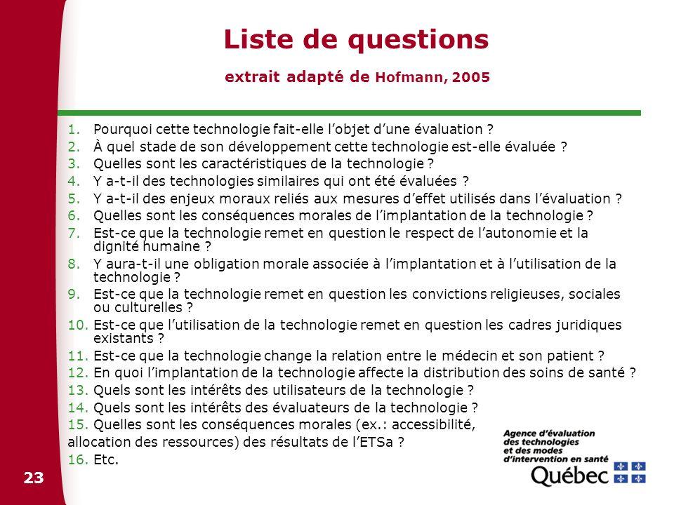 23 Liste de questions extrait adapté de Hofmann, 2005 1.Pourquoi cette technologie fait-elle lobjet dune évaluation ? 2.À quel stade de son développem